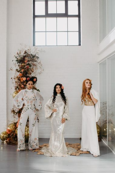 70s Disco wedding inspiration with brides in alternative wedding outfits