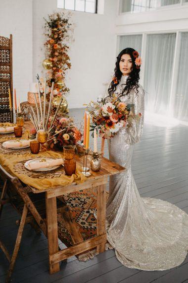 Brown, rust, mustard and orange wedding decor for 70s Disco wedding theme