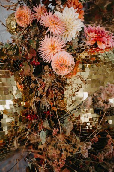 Gold glitter balls wedding decor