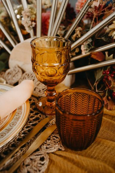 Brown coloured goblets for 70s Disco themed wedding