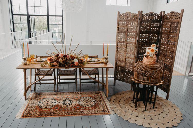 Brown, rust, orange and mustard wedding decor for 70s Disco theme