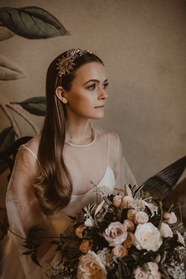 Beautiful Bride in Sheer Front & Sleeved Wedding Dress and Gold Hair Band | Romantic Pink and Gold Wedding Inspiration in a Modern Summer House at Garthmyl Hall by KnockKnockPenny Studio | Nesta Lloyd Photography