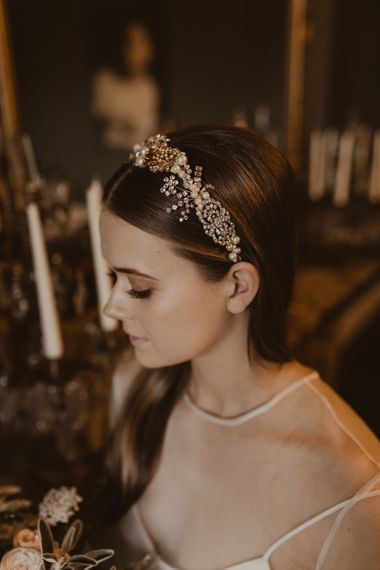 Intricate Gold & Sparkle Bridal Headdress | Romantic Pink and Gold Wedding Inspiration in a Modern Summer House at Garthmyl Hall by KnockKnockPenny Studio | Nesta Lloyd Photography