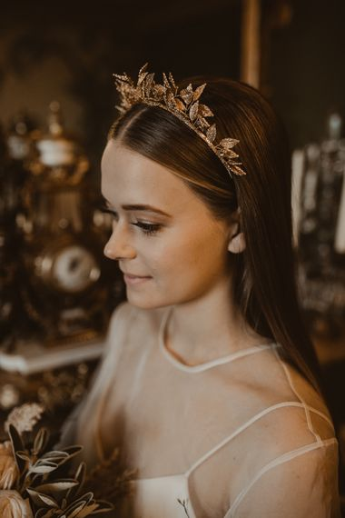 Luxe Gold Leaf Bridal Hair Accessory | Romantic Pink and Gold Wedding Inspiration in a Modern Summer House at Garthmyl Hall by KnockKnockPenny Studio | Nesta Lloyd Photography