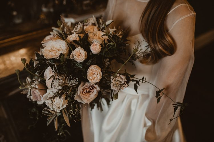 Vintage Rose Bridal Bouquet | Romantic Pink and Gold Wedding Inspiration in a Modern Summer House at Garthmyl Hall by KnockKnockPenny Studio | Nesta Lloyd Photography