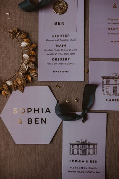 Pink & Gold Foil with Wax Seals Wedding Stationery Suite by Knockknockpenny Studio | Romantic Pink and Gold Wedding Inspiration in a Modern Summer House at Garthmyl Hall by KnockKnockPenny Studio | Nesta Lloyd Photography