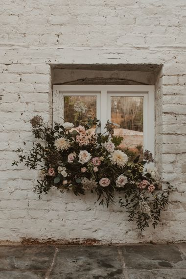 Romantic Floral Arrangement with Pink Roses, Dahlias, Hydrangeas & Foliage | Romantic Pink and Gold Wedding Inspiration in a Modern Summer House at Garthmyl Hall by KnockKnockPenny Studio | Nesta Lloyd Photography