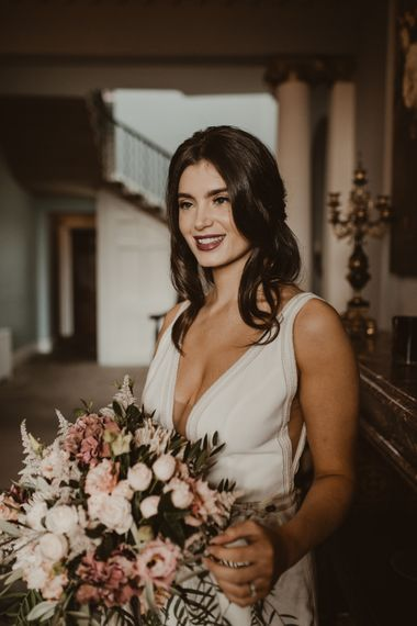 Beautiful Bride in V Neck Strap Wedding Dress with Front Split | Romantic Pink and Gold Wedding Inspiration in a Modern Summer House at Garthmyl Hall by KnockKnockPenny Studio | Nesta Lloyd Photography