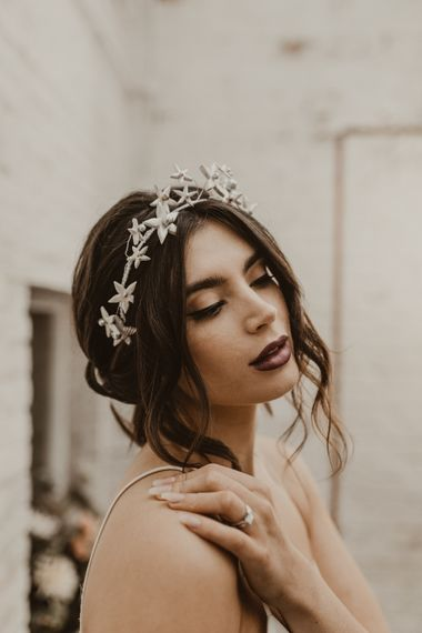 Beautiful Bride with Bridal Up Do & Star Headdress |  | Romantic Pink and Gold Wedding Inspiration in a Modern Summer House at Garthmyl Hall by KnockKnockPenny Studio | Nesta Lloyd Photography