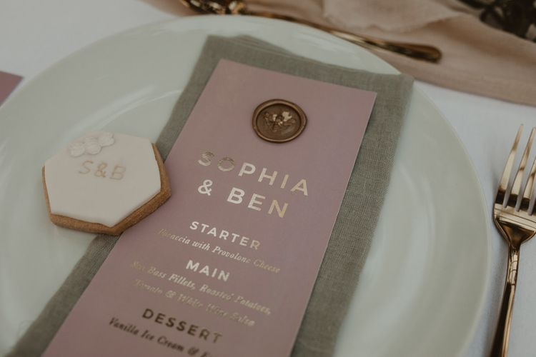 Pink & Gold Foil with Wax Seal Wedding Stationery by Knockknockpenny Studio | Romantic Pink and Gold Wedding Inspiration in a Modern Summer House at Garthmyl Hall by KnockKnockPenny Studio | Nesta Lloyd Photography