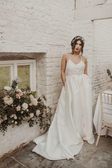 Bride in Spaghetti Strap Dress & Star Headpiece  | Romantic Pink and Gold Wedding Inspiration in a Modern Summer House at Garthmyl Hall by KnockKnockPenny Studio | Nesta Lloyd Photography