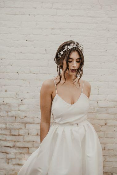 Beautiful Bride in Spaghetti Strap Dress & Star Headdress |  Romantic Pink and Gold Wedding Inspiration in a Modern Summer House at Garthmyl Hall by KnockKnockPenny Studio | Nesta Lloyd Photography