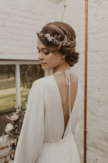 Beautiful Bride in Wrap Wedding Dress & Vine Headpiece | Romantic Pink and Gold Wedding Inspiration in a Modern Summer House at Garthmyl Hall by KnockKnockPenny Studio | Nesta Lloyd Photography