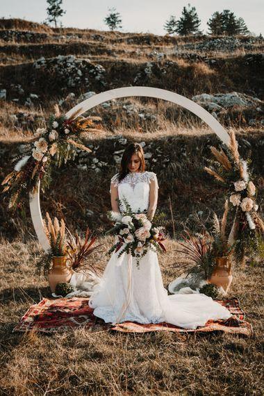 Boho Bride in Napolitano Trotta Maison Embellished Wedding Dress   Moon Gate & Persian Rug   A Wild Bohemian Bride in the Majella National Park, Abruzzo, Italy   Planned & Styled by Antonia Luzi   Federico Lanuto Photography