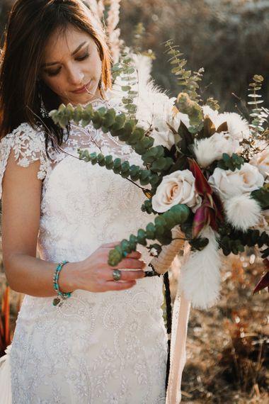 Oversized Bouquet   Boho Bride in Napolitano Trotta Maison Embellished Wedding Dress   A Wild Bohemian Bride in the Majella National Park, Abruzzo, Italy   Planned & Styled by Antonia Luzi   Federico Lanuto Photography