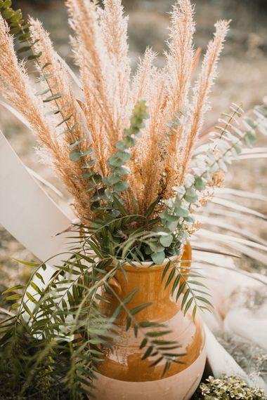 Pampas Grass & Greenery Wedding Flowers   A Wild Bohemian Bride in the Majella National Park, Abruzzo, Italy   Planned & Styled by Antonia Luzi   Federico Lanuto Photography