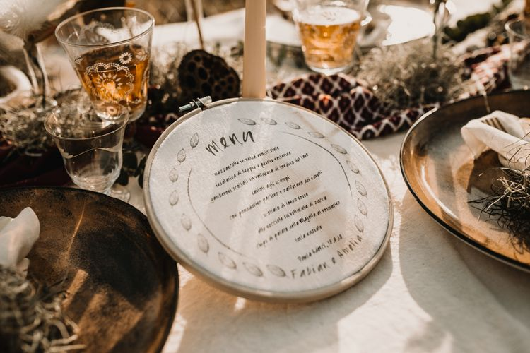 Hoop Linen Menu   Intimate Rustic Tablescape   A Wild Bohemian Bride in the Majella National Park, Abruzzo, Italy   Planned & Styled by Antonia Luzi   Federico Lanuto Photography