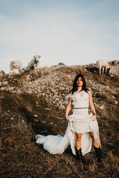 Boho Bride in Napolitano Trotta Maison Embellished Wedding Dress & Boots   A Wild Bohemian Bride in the Majella National Park, Abruzzo, Italy   Planned & Styled by Antonia Luzi   Federico Lanuto Photography