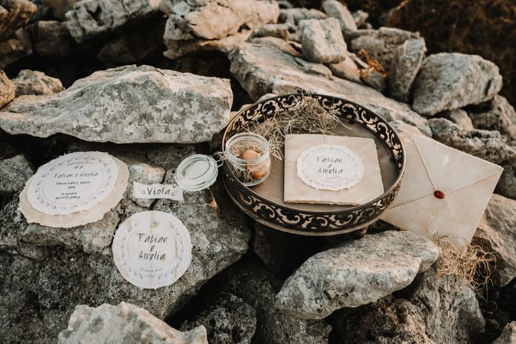 Natural Linen Wedding Stationery    A Wild Bohemian Bride in the Majella National Park, Abruzzo, Italy   Planned & Styled by Antonia Luzi   Federico Lanuto Photography
