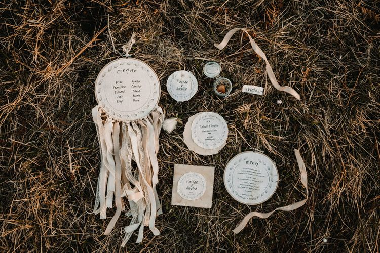 Hanging Hoop Dream Catcher Wedding Decor   Natural Linen Wedding Stationery    A Wild Bohemian Bride in the Majella National Park, Abruzzo, Italy   Planned & Styled by Antonia Luzi   Federico Lanuto Photography