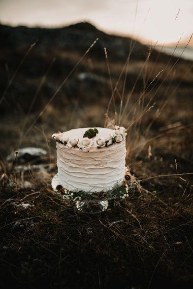 Single Tier Iced Wedding Cake   A Wild Bohemian Bride in the Majella National Park, Abruzzo, Italy   Planned & Styled by Antonia Luzi   Federico Lanuto Photography