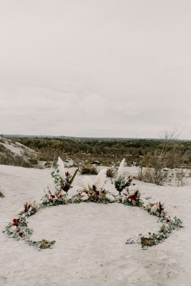 Horseshoe Pampas Grass, Eucalyptus & Red Rose Floral Arrangement | Wild Same Sex Couple Wedding Inspiration Shoot | Anne Letournel Photography