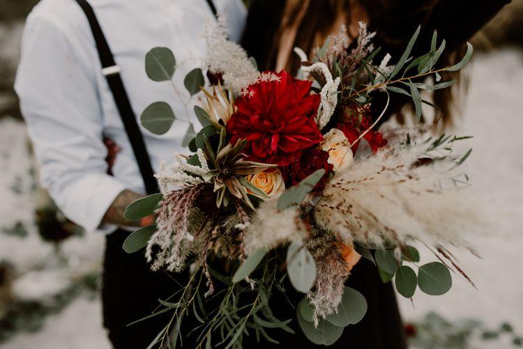 Two Brides | Bride in Portez Vos Idées Black Wedding Dress | Pampas Grass, Eucalyptus & Red Rose Wedding Bouquet | Wild Same Sex Couple Wedding Inspiration Shoot | Anne Letournel Photography