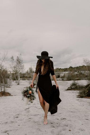 Bride in Portez Vos Idées Black Wedding Dress | Wild Same Sex Couple Wedding Inspiration Shoot | Anne Letournel Photography