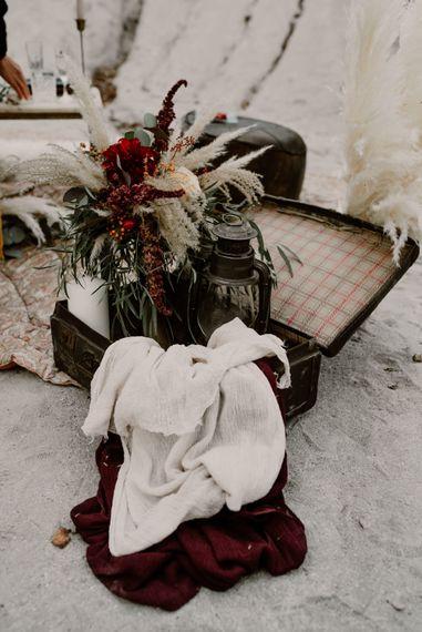 Vintage Suitcase, Linens & Pampas Grass Floral Arrangement | Wild Same Sex Couple Wedding Inspiration Shoot | Anne Letournel Photography