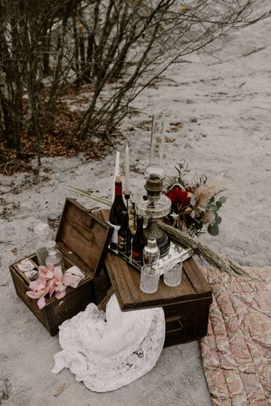 Vintage Crates, Drinks Display with Glass Decanters | Wild Same Sex Couple Wedding Inspiration Shoot | Anne Letournel Photography
