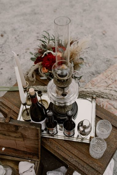 Drinks Tray & Candlesticks Wedding Decor | Wild Same Sex Couple Wedding Inspiration Shoot | Anne Letournel Photography