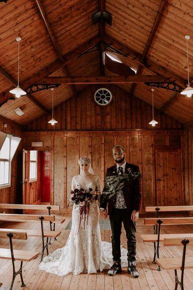 Stylish bride and groom portrait