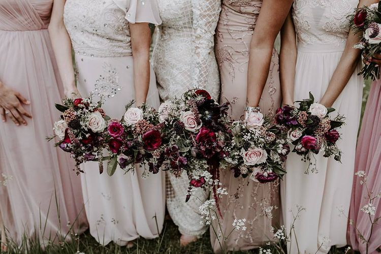 Deep pink and blush bridal party bouquets