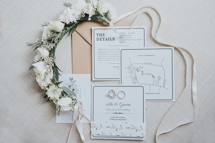 Oxford wedding stationary and flower crown details for intimate and relaxed celebration