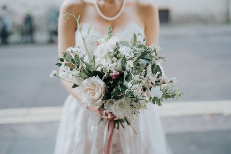White flower bouquet with ribbon detailing for intimate Oxford wedding