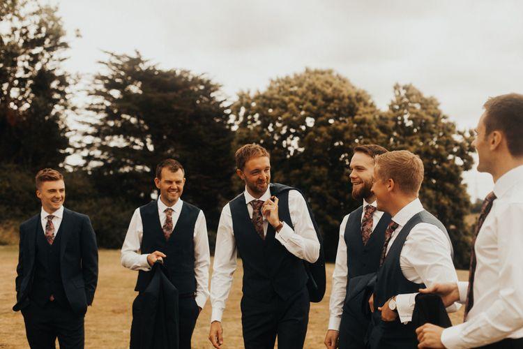Groom and groomsmen before church ceremony