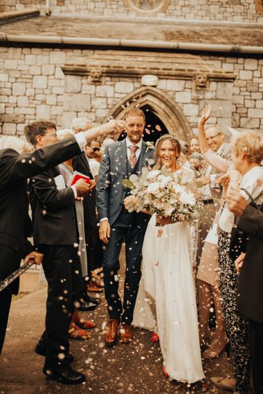 Confetti exit for bride and groom