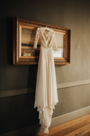 Lace wedding dress for rustic wedding with foliage table runner