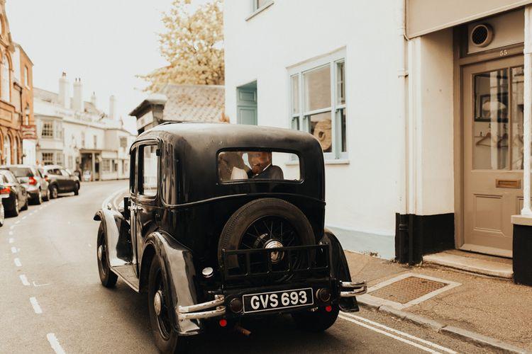 Vintage wedding car in Devon