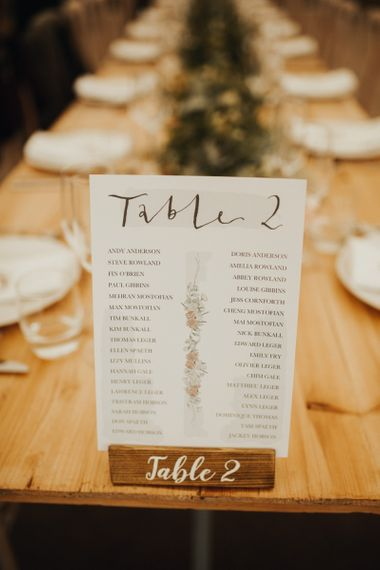 Seating plan at garden wedding with foliage table runner