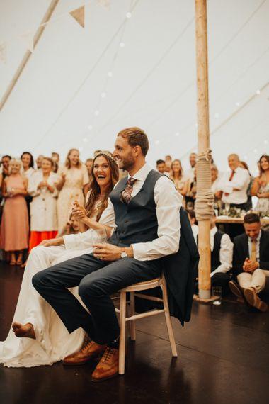 Bride and groom enjoy incredible wedding speeches