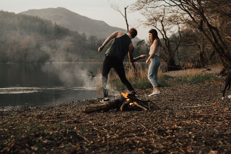 Dirty Dancing Lake Lift Engagement Shoot at Lake Coniston in the Lake District by ALifeLessOrdinary Photography
