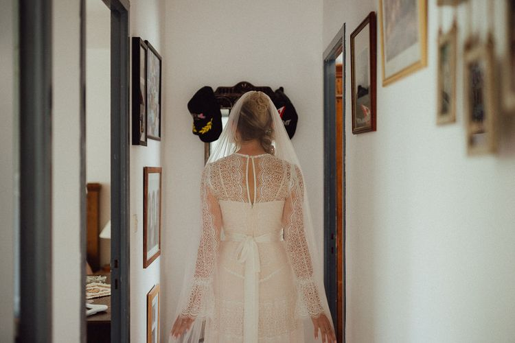 Bridal Morning Preparations | Bride in Laced Catherine Deane Wedding Dress with Long Sleeves | Rustic French Destination Wedding with Homegrown Flowers  | Emily & Steve Photography
