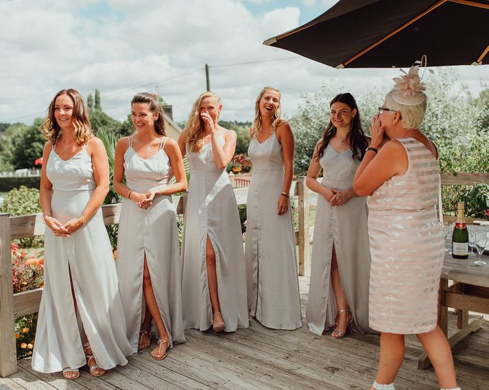 Bridesmaids in Grey Silk Fred Dresses | Mother of the Bride in Blush Pink | Rustic French Destination Wedding with Homegrown Flowers  | Emily & Steve Photography