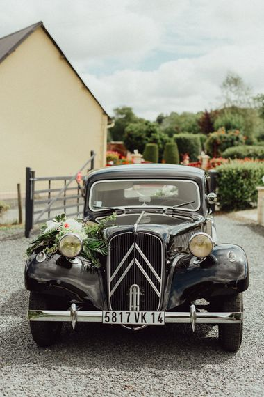 Vintage Citroen Wedding Car | Rustic French Destination Wedding with Homegrown Flowers  | Emily & Steve Photography