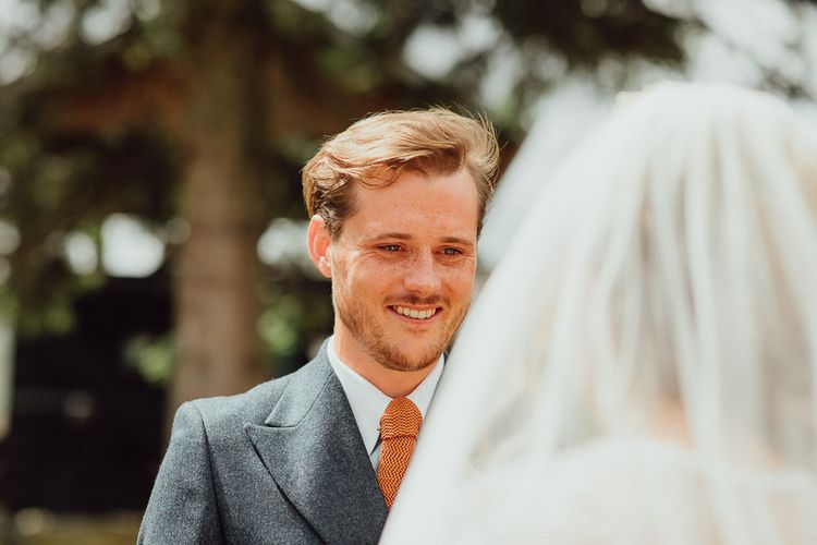Wedding Ceremony | Groom in Blue Thomas Farthing Suit with Ochre Tie | Rustic French Destination Wedding with Homegrown Flowers  | Emily & Steve Photography