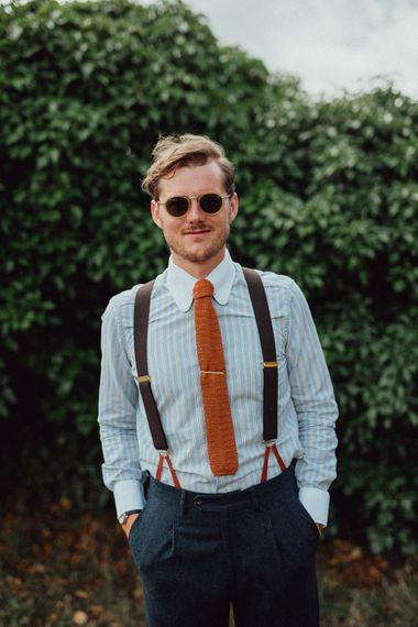 Groom in Blue Thomas Farthing Suit with Ochre Tie | Cubitts Sunglasses | Rustic French Destination Wedding with Homegrown Flowers  | Emily & Steve Photography
