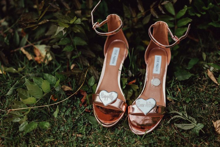 Steve Madden Gold Block Heels | Charlotte Mills Shoe Clips | Rustic French Destination Wedding with Homegrown Flowers  | Emily & Steve Photography