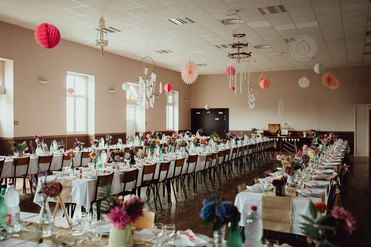 Wedding Reception Decor | Garden Flowers in Milk Churns | Paper Lanterns | Hessian Table Runners | Rustic French Destination Wedding with Homegrown Flowers  | Emily & Steve Photography