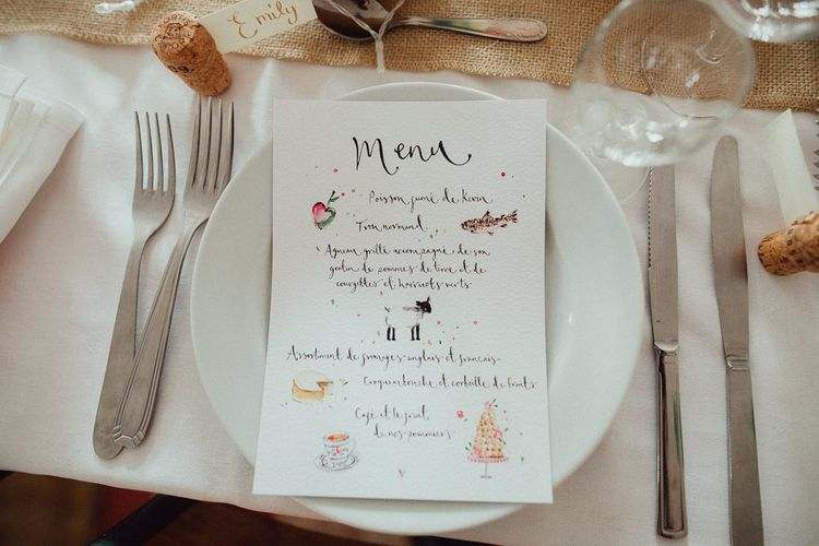Wedding Breakfast Menu | Wedding Reception Decor | Rustic French Destination Wedding with Homegrown Flowers  | Emily & Steve Photography